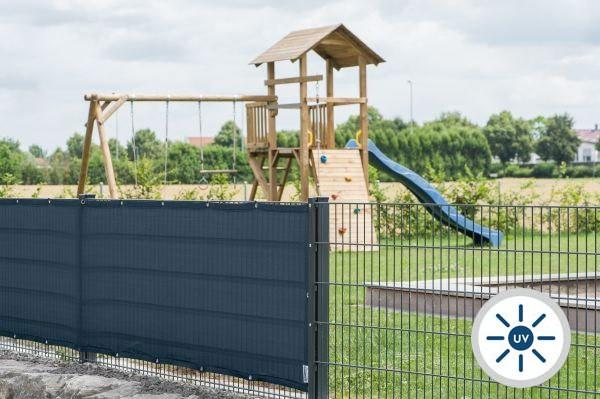 Windschutznetz nach Maß am Stabmattenzaun - 85% Windschutz - Grammatur 230 g/m²