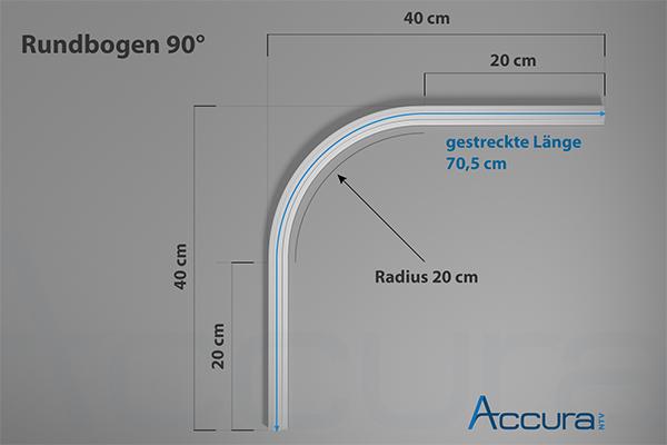 auf Anfrage Bogen, Kurve 90°, Radius 20 cm, Schenkellänge 40 cm