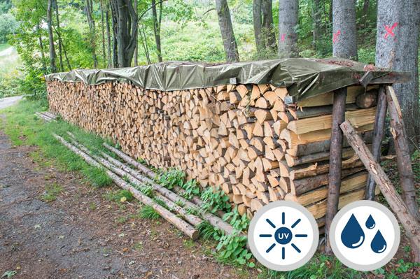 Brennholzplane grün mit Ösen 140 g/m² für Holzstapel aus Meterholz