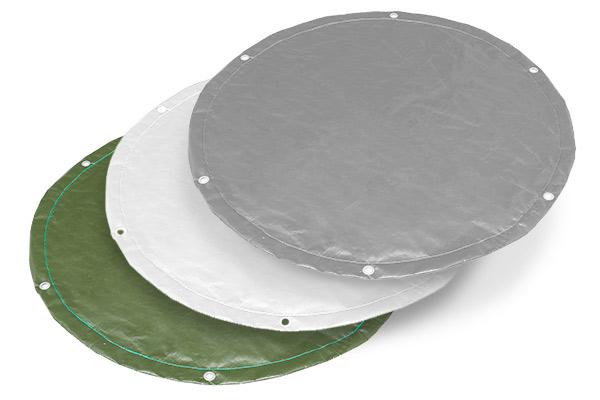 Abdeckplane rund nach Maß - wasserdichte Gewebeplane mit Ösen - 180 g/m²