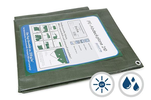 Abdeckplane grün mit Ösen - 210 g/m²