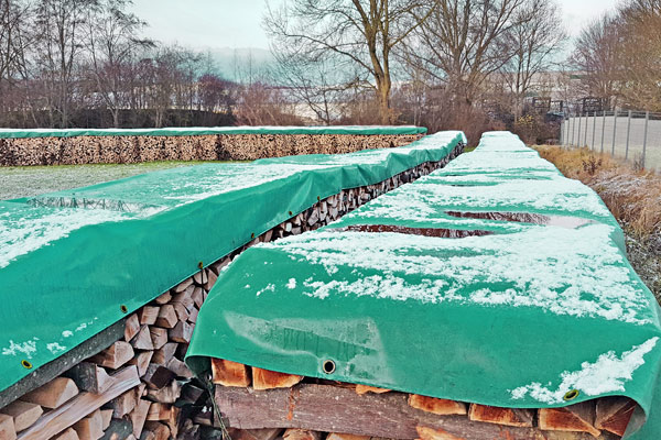 PVC-Abdeckplane für Brennholz grün 650 g/m²