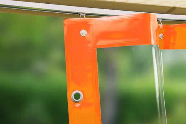 Outdoor-Vorhang Crystal nach Maß - mit gewebeverstärktem Saum für sicheren Halt der Ösen