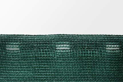 Windschutznetz mit Lochleiste, Abstand 8 cm.