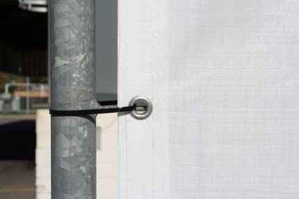 Bauzaunplane weiß - rundum Ösen je 50 cm